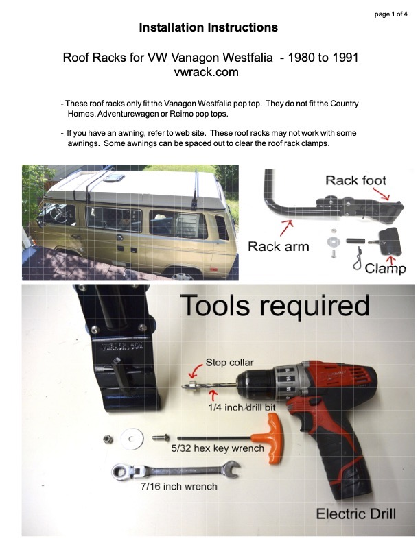 Roof rack instructions page 2